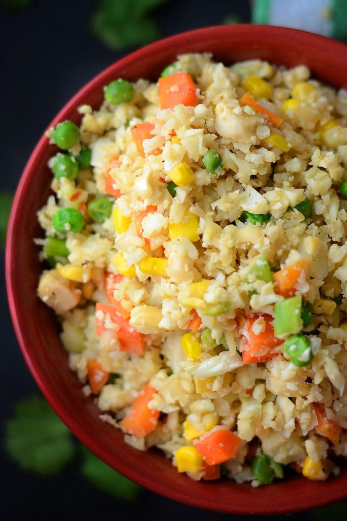 Vegan Cauliflower Fried Rice - Gluten-Free, Low Carb, Healthy, High Fibre
