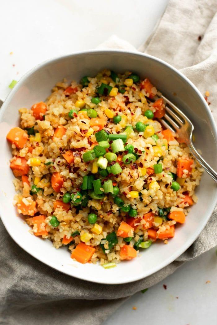 Healthy Vegan Cauliflower Rice Recipe with Green Onion - Running on Real Food