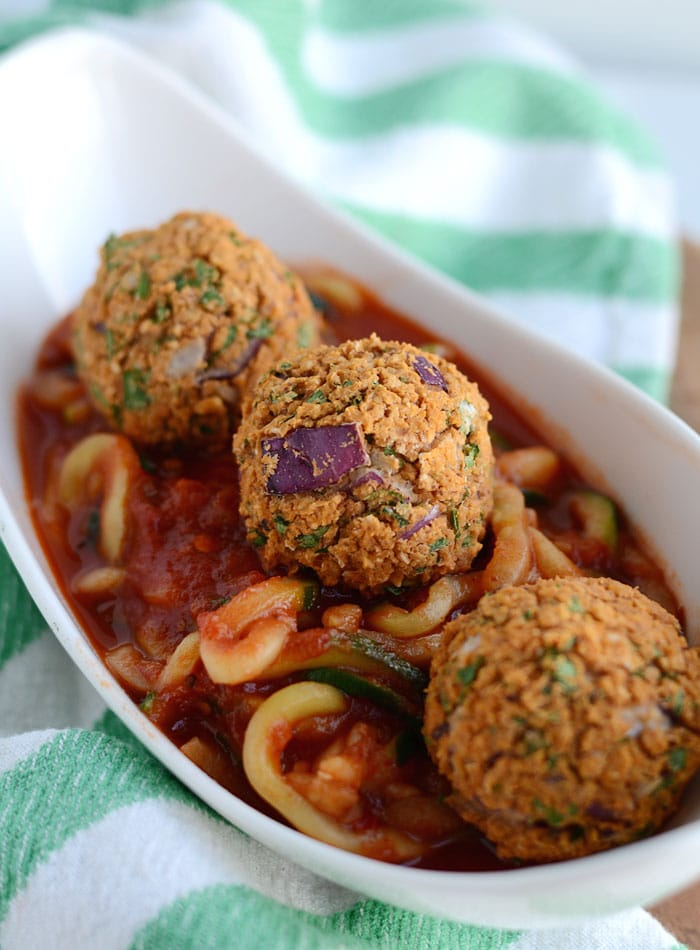 White Bean Vegan Meatballs with Zoodles