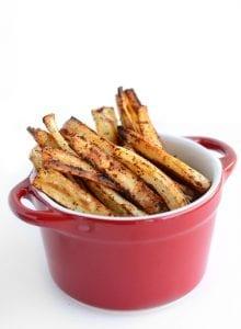 Healthy Chili Garlic Baked Parsnip Fries