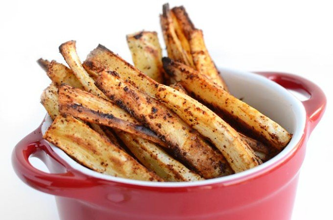 Chili Garlic Baked Parsnip Fries