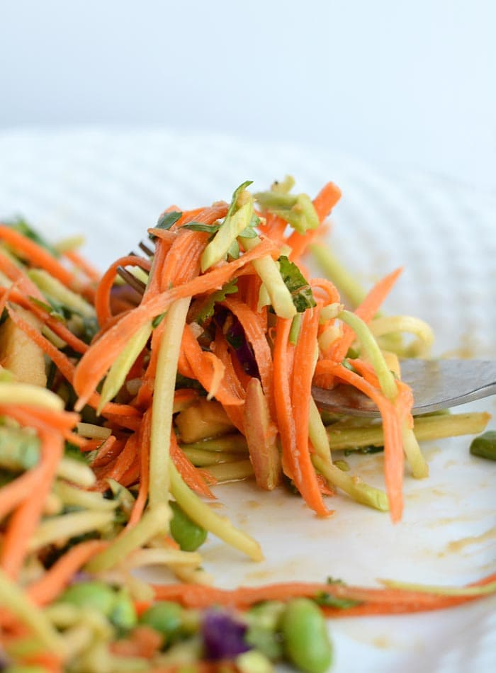 Broccoli Slaw with Low Fat Peanut Dressing