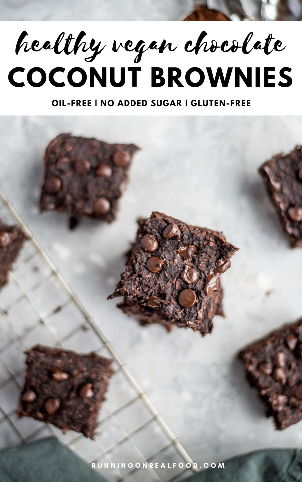 Healthy vegan chocolate coconut brownies made with protein powder, banana, cocoa powder, dairy-free chocolate chips and coconut. So easy to make with just 5 simple ingredients. Gluten-free, oil-free, no added sugar.