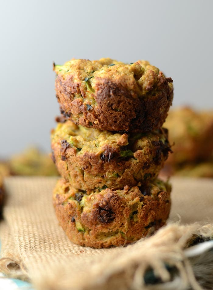 Skinny Vegan Chocolate Chip Zucchini Muffins