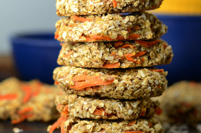 Healthy Coconut Carrot Cake Oatmeal Cookies