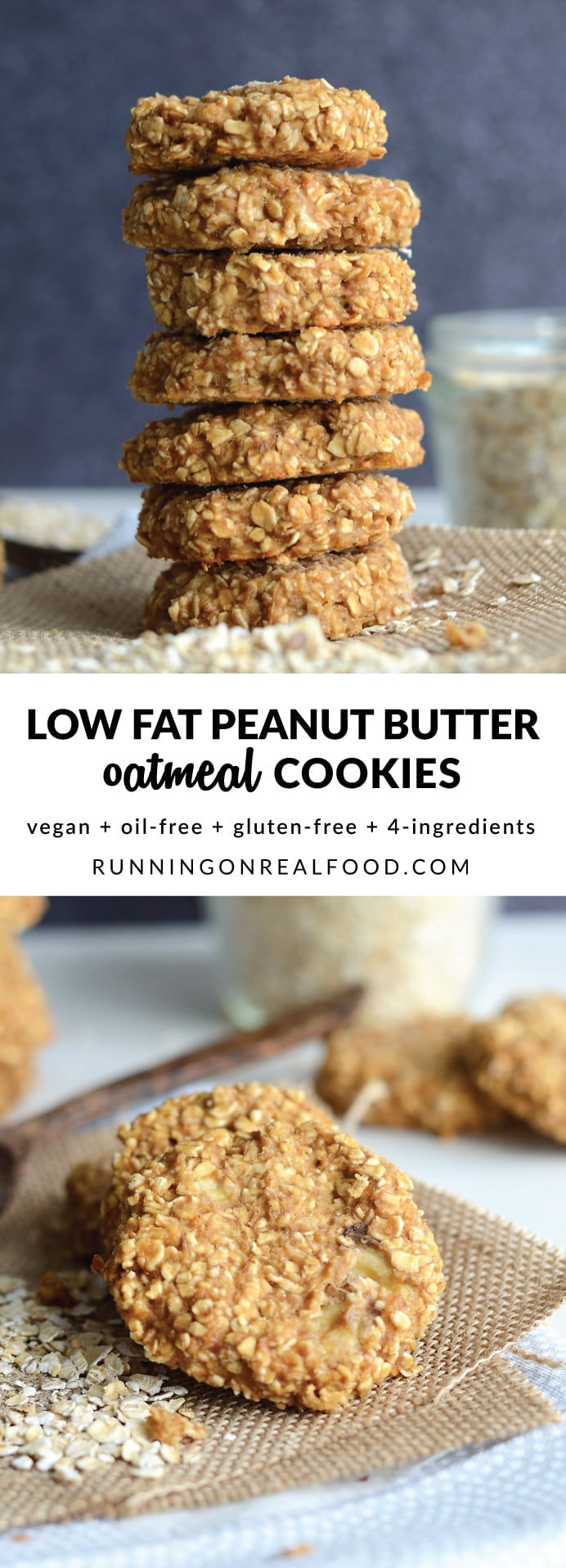 These 4-ingredient, vegan, low fat peanut butter oatmeal cookies are gluten-free, have no added sugar and are easy to make for a healthy, delicious treat. Try them with your favourite add-ins such as walnuts, chocolate chips, cranberries, chopped dark chocolate or raisins!