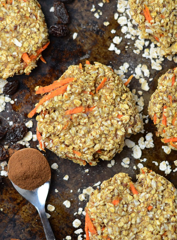 Healthy Coconut Carrot Cake Cookies - Oil-Free, Flourless, Vegan, Low Fat & Carb, Amazing flavour!