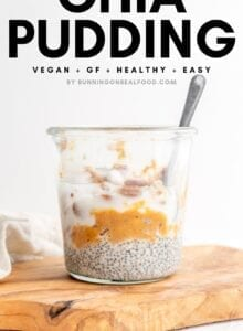 Image of sweet potato chia pudding with text overlay for Pinterest.