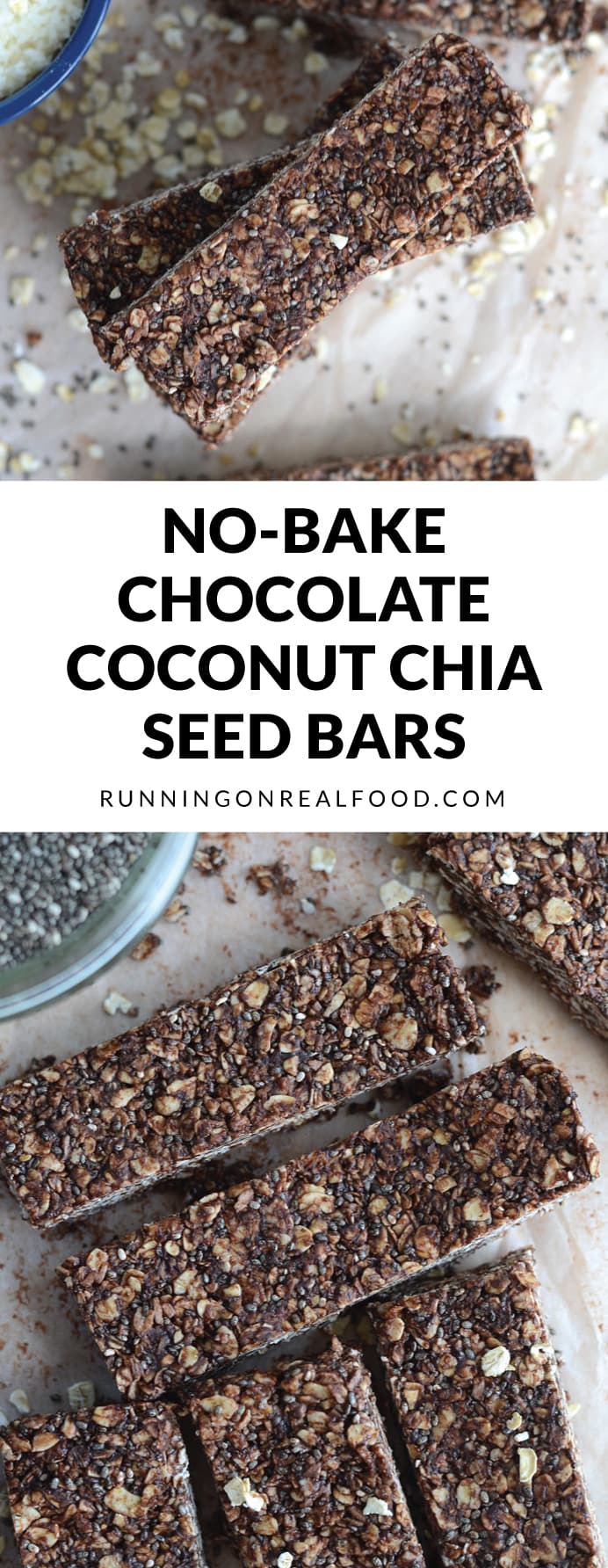 These Chocolate Coconut Chia Seed Bars are so easy to make, can be prepared in minutes with no blending or baking and only require a few ingredients. Vegan, gluten-free, no refined sugar.