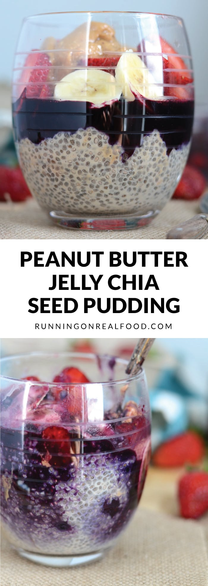 This delicious overnight Peanut Butter Jelly Chia Seed Pudding is easy to make, completely vegan and tastes like dessert! High in protein, healthy fats, vitamins, minerals and antioxidants. SO YUMMY!