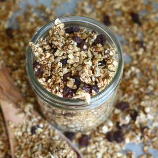 Cinnamon Raisin Healthy Homemade Granola - Sweetened with Banana