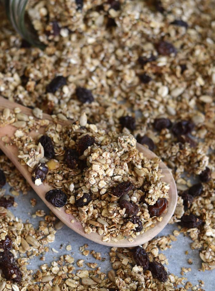 Cinnamon Raisin Healthy Homemade Granola - Sweetened with Banana