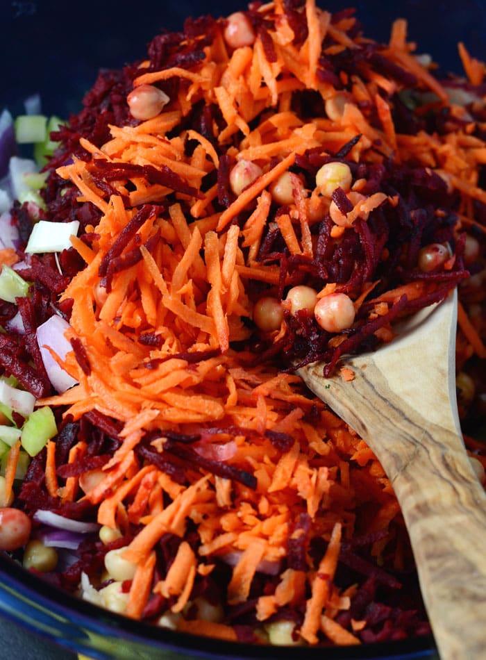 Vibrant Raw Beet Salad with Chickpeas