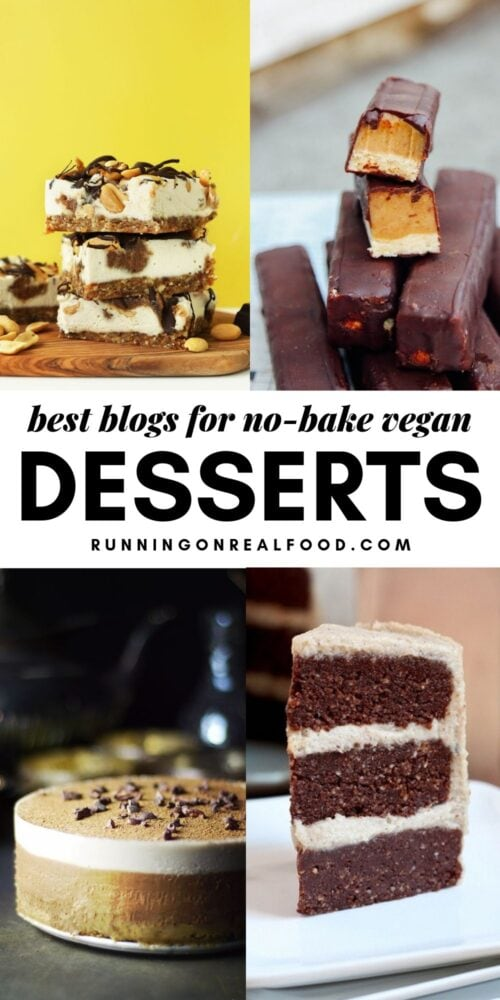 Collage picturing raw vegan desserts with a text overlay for Pinterest.