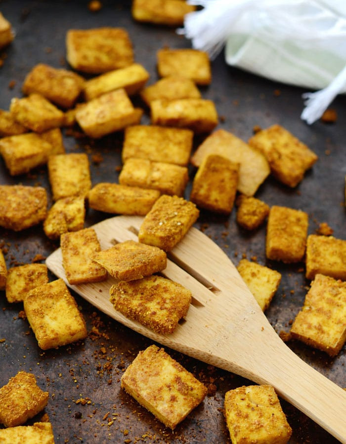 Crispy Baked Curried Tofu (Oil-Free)