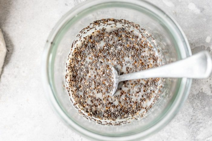 Raw chia seeds with almond milk.