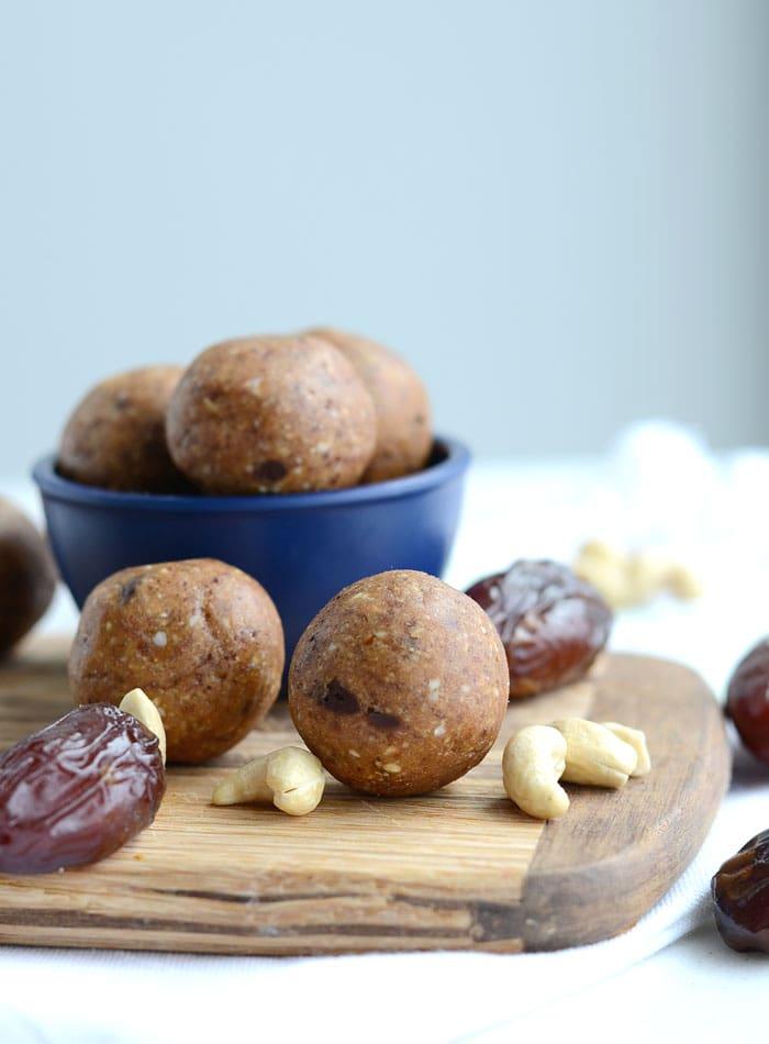 Chocolate Chip Cookie Dough Balls with Maca - Vegan, No-Bake