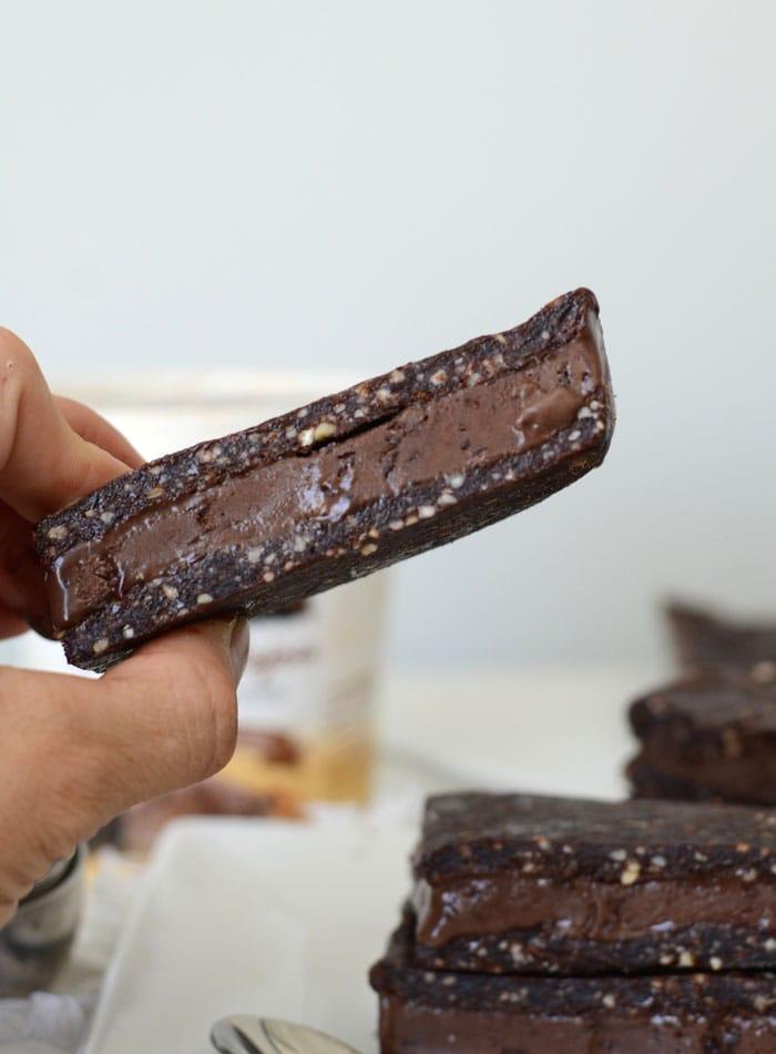 Vegan Salted Brownie Frozen Dessert Sandwiches