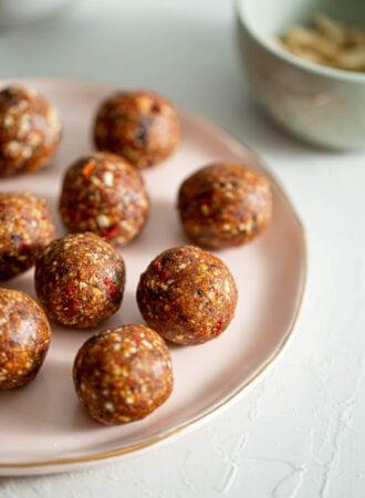 A plate of goji berry energy balls.