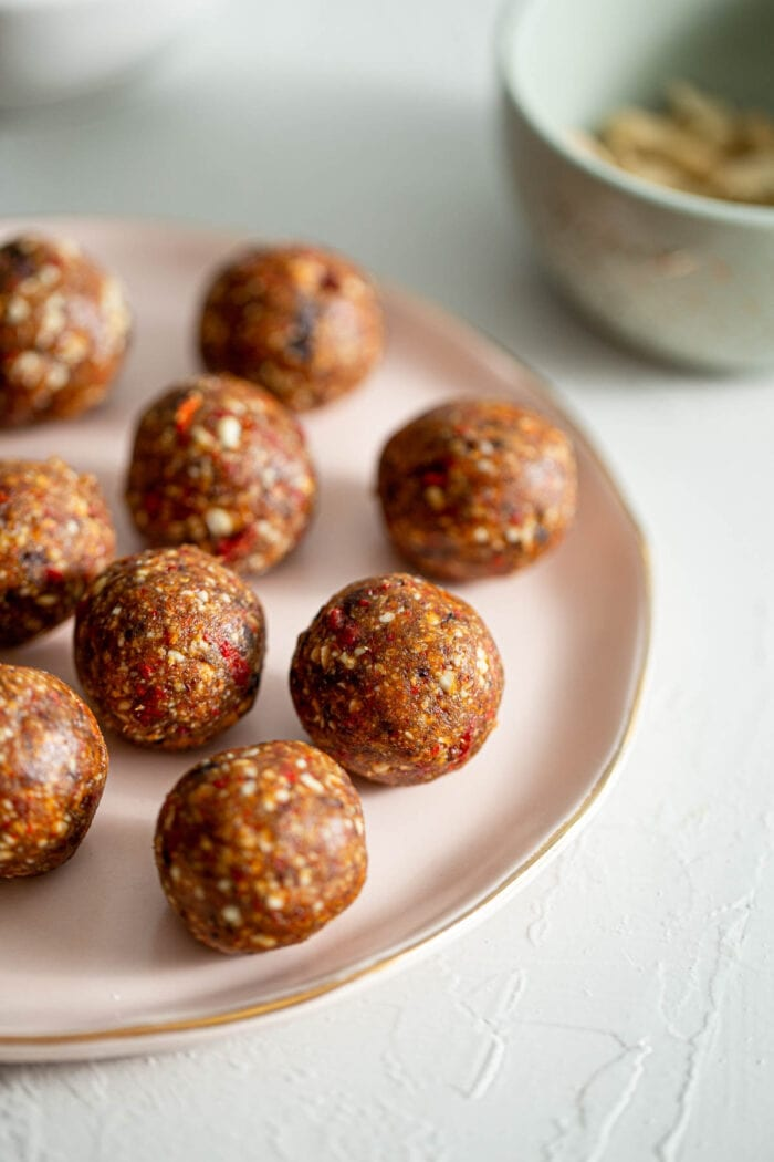 A plate of goji berry energy balls.