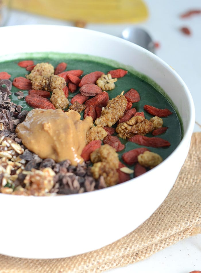 Mango Banana Green Smoothie Bowl with 2-Ingredient Granola - Vegan