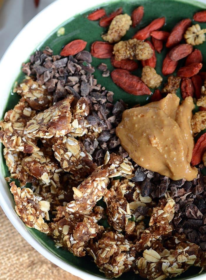 Mango Banana Green Smoothie Bowl with 2-Ingredient Granola - Vegan