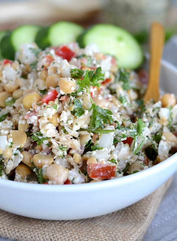 Grain-Free Chickpea Tabouleh Salad - Vegan, Oil-Free