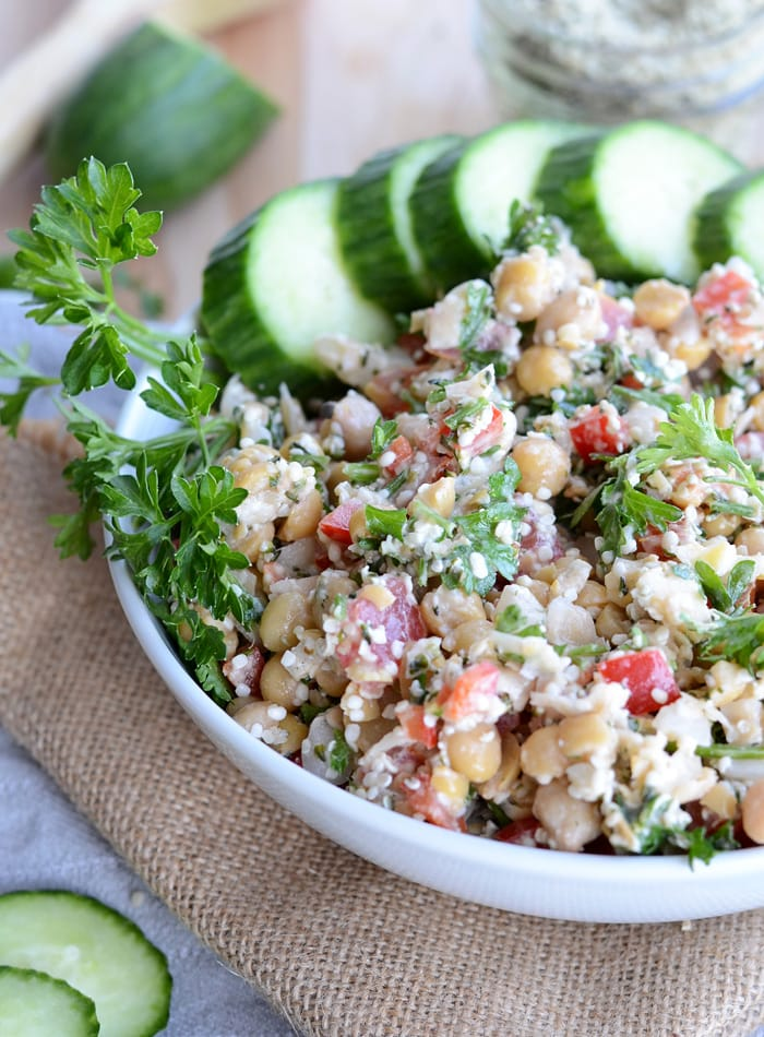 Grain-Free Chickpea Tabouleh Salad - Vegan, Oil-Free