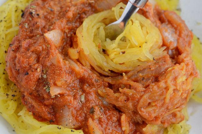 Cheesy Vegan Spaghetti Squash Marinara