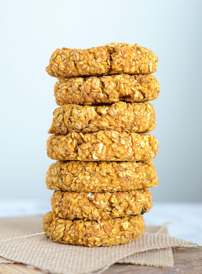Healthy Pumpkin Oat Cookies Just 3 Ingredients Vegan