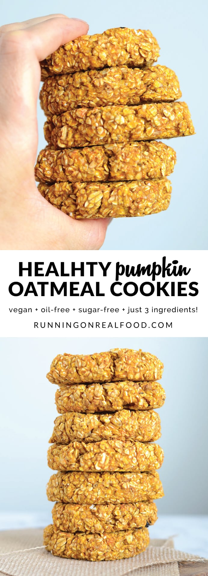 You only need 3 simple ingredients to make these extra hearty, healthy, wholesome and satisfying pumpkin oat cookies. They're ideal before or after a workout for a natural energy boost. Try adding in pumpkin pie spice, walnuts, chocolate chips, raisins or coconut to take them up a notch!