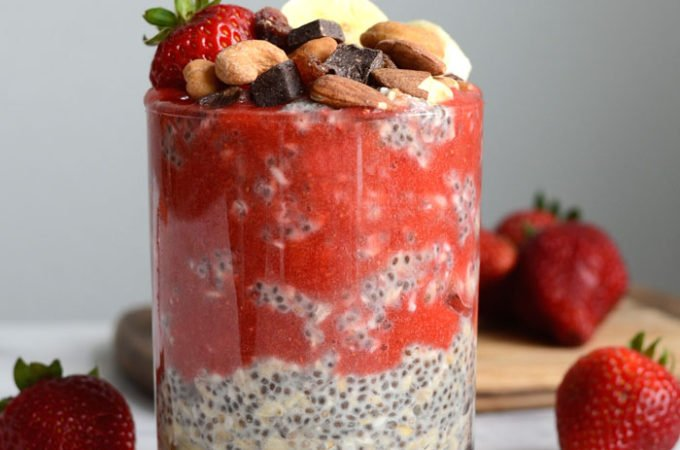 Healthy Chia Seed Overnight Oats with Strawberry Coulis