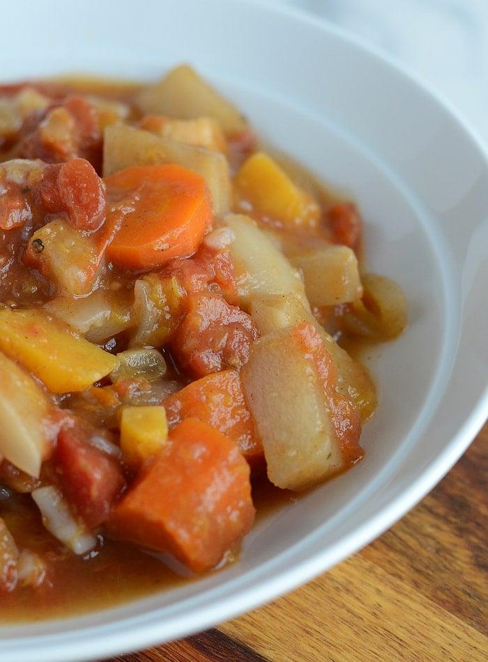 Slow Cooker Root Vegetable Stew - Low Fat, Vegan, Gluten-Free