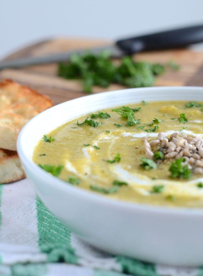 Healthy Vegan Cream of Broccoli Soup - Oil-Free, Low Fat