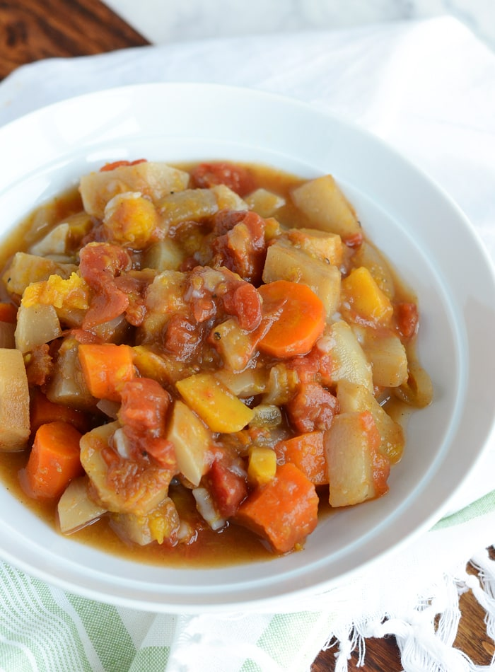 Slow Cooker Root Vegetable Stew - Low Fat, Vegan, Gluten-Free