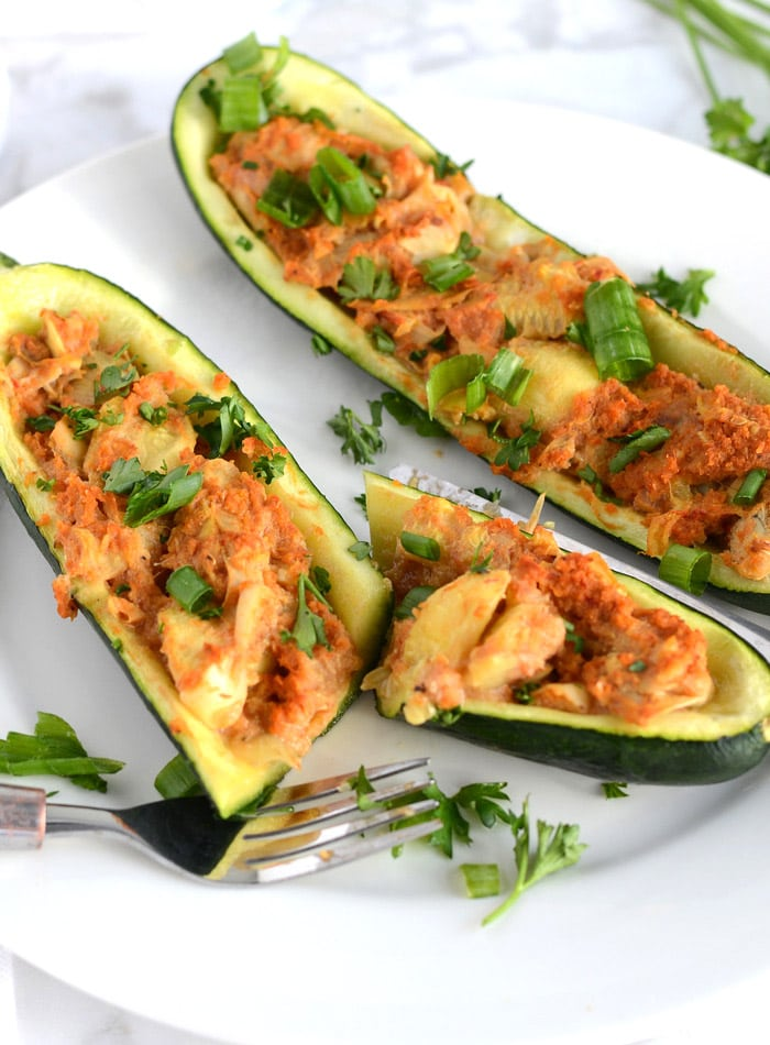Vegan Twice Baked Stuffed Zucchini