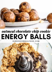 Pinterest graphic with an image and text for no-bake chocolate chip cookie dough balls.