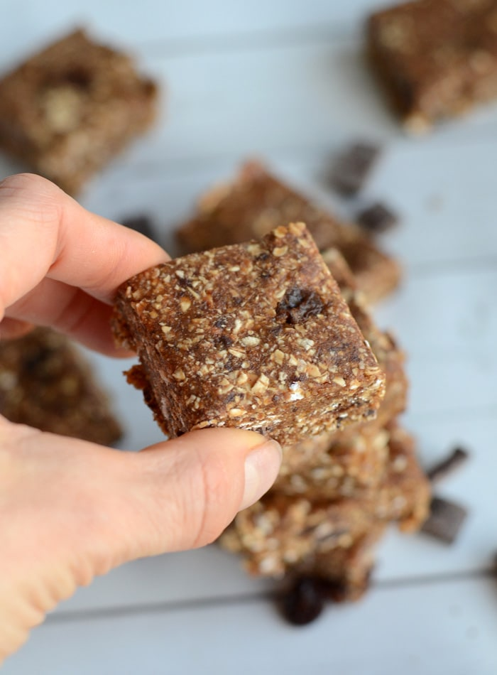 Nut-Free No-Bake Oatmeal Raisin Bars with Chocolate