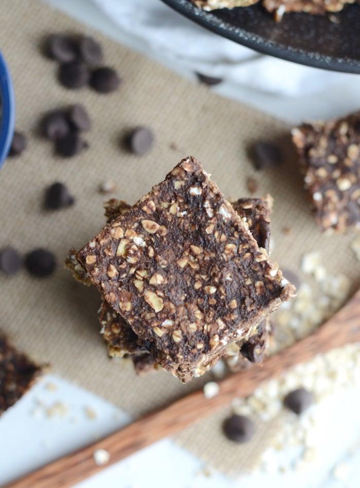 Healthy Baked Banana Chocolate Chip Oatmeal Bars - Vegan, Low Fat, Oil-Free