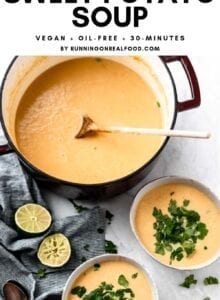 Pinterest image with text overlay for curried cauliflower sweet potato soup.