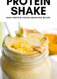 Pinterest image for Vegan Peanut Butter Cup Protein Shake.