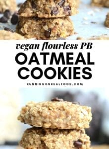 Pinterest collage with 2 images of cookies and text overlay reading Flourless Oatmeal Cookies.