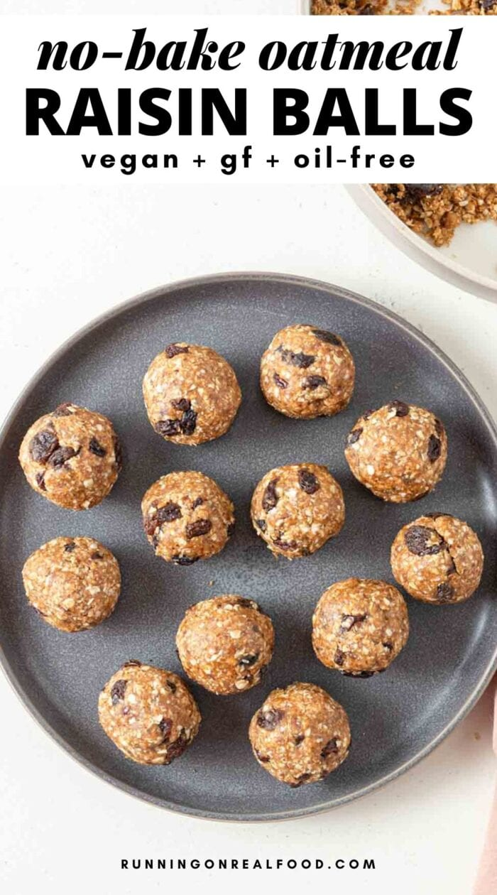 Pinterest graphic with an image and text for no-bake oatmeal raisin bites.