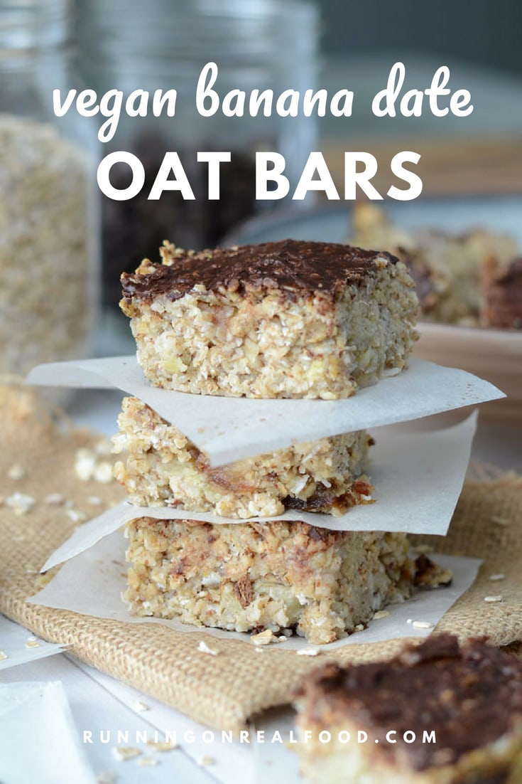 Healthy baked banana date oat bars made with just a handful of simple ingredients such as oats, dates, banana, flax and coconut. Try them for a quick breakfast, easy snack or healthy dessert. Vegan, refined sugar-free, gluten-free.#vegan #veganrecipes #oatbars #vegandesserts #dessertrecipes #snackrecipes #bakedoatbars #oats #oatrecipes #bananarecipes #veganbaking