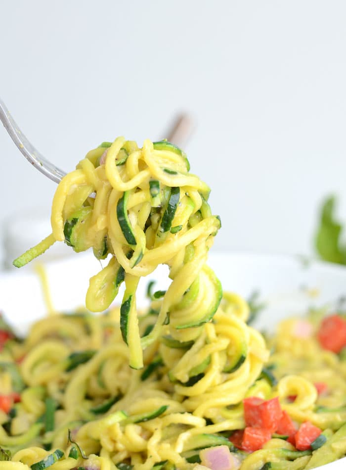 6-Ingredient Easy Vegan Cheesy Zoodles - Low Fat, Low Carb and High in Protein