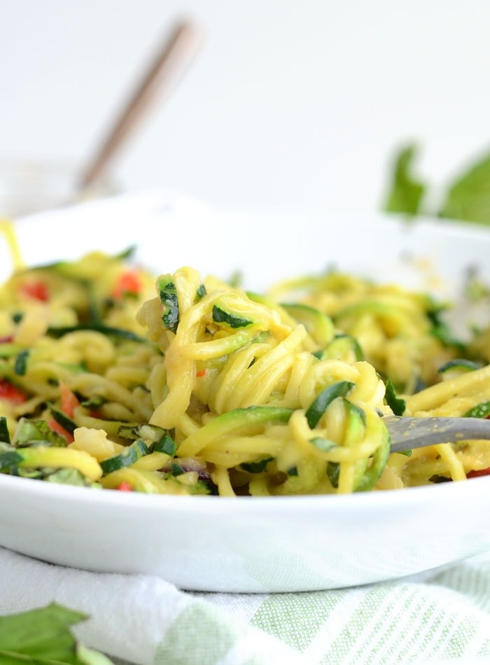 6-Ingredient Easy Cheesy Vegan Zoodles - Low Fat, Low Carb and High in Protein