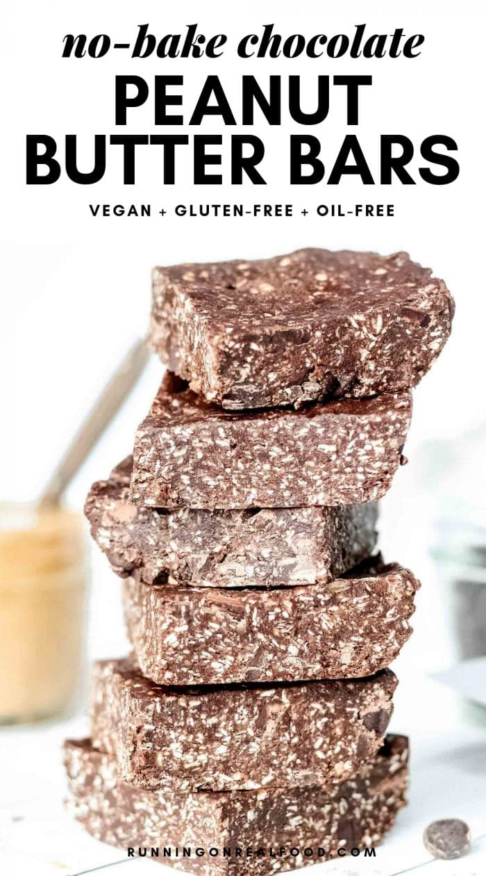 Pinterest graphic for no-bake chocolate peanut butter bars.