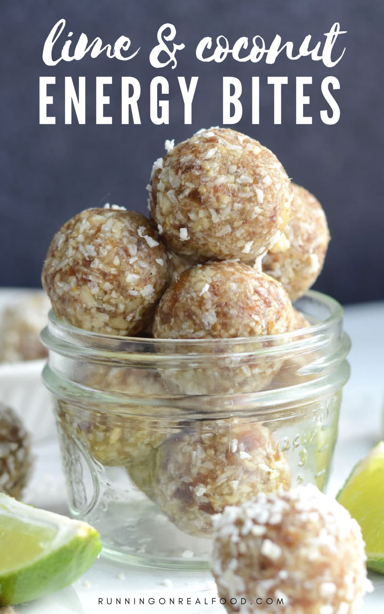 All you need is 4 whole food ingredients to make these delicious lime coconut energy bites. Enjoy them anytime of day for an all-natural energy boost! Gluten-free, vegan, oil-free, no added sugar, no baking. So easy, fresh and yummy!