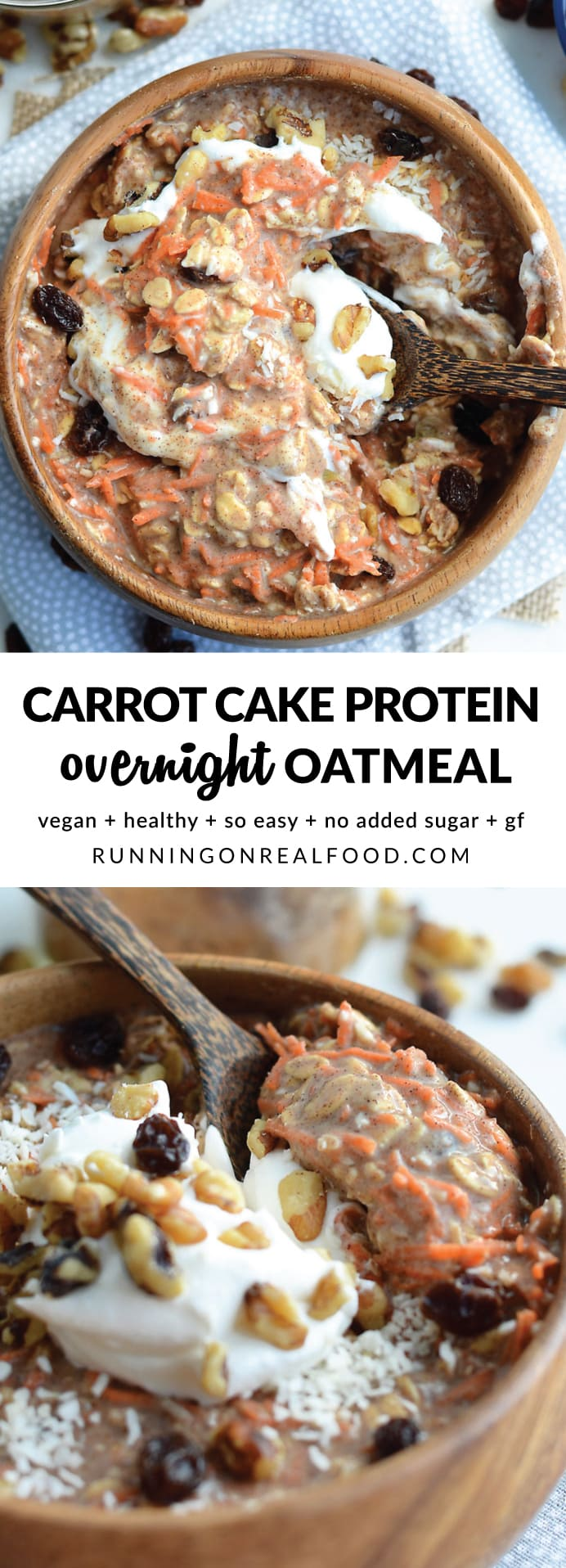 These delicious, healthy and nourishing carrot cake overnight oats take just minutes to prep with simple ingredients, they're high in plant-based protein and they taste incredible! Serve with a dollop of coconut whipped cream or your favourite dairy-free yogurt. Or add extra toppings like pineapple and walnuts! Vegan, GF.