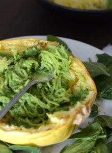Low Fat Pesto Spaghetti Squash